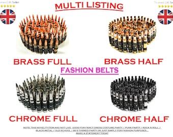Chrome (Half) Bullet Belt - REAL/GENUINE - Goth / Punk / Rock n Roll / Black Metal / Fancy / Costume / Novelty / Heavy / Army / Ammo / Emo
