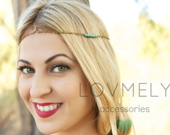 Brass and Turquoise chain headpiece headband head chain