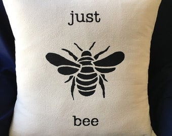 """Just Bee 18"""" hand stenciled pillow"""