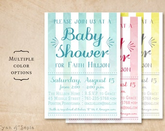 Watercolor Stripes, Modern Baby Shower Invitation - Printable 5x7 - Aqua Blue Magenta Hot Pink Yellow Gray Grey Ombre Boy Girl Unisex