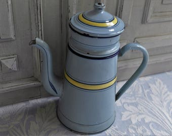 Vintage enamel coffee pot cafétiere, pale blue and yellow striped, 1930's, enamel jug, enamelware kitchenalia, antique country kitchen item