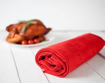 Christmas tablecloth, Christmas table decor, Red linen tablecloth, Christmas table topper, Linen table top, Holiday tablecloths