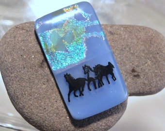 SALE Fused Dichroic Glass Cabochon...HORSES...Cab for Jewelry Designers