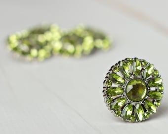 5 Rhinestone Buttons - Artichoke Green Button - Amy Button - 28mm - Plastic Buttons - Acrylic Buttons