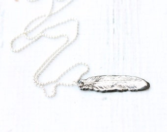 Artisan Silver Feather Necklace Precious Metal Clay Jewelry