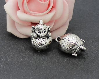 2 connectors Hedgehog 3D in antique silver 22 x 13 mm COA195