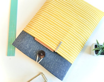 "Laptop Case 11"", 13"", 15"" Laptop Sleeve Case Padded with Pocket - Mustard Yellow Stripes"