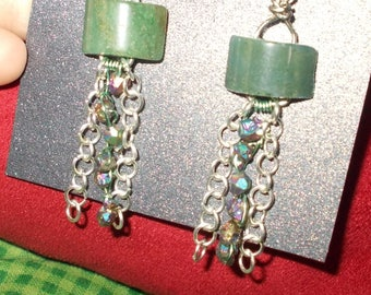 Jade and iridescent earrings
