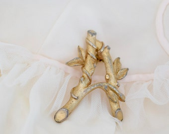 Letter A Brooch, Sarah Coventry, Initial A Pin, Gold Tone, Leaves and Branch, Patina, ABC Pins, Letter A Pin, Initial A Brooch, Vine