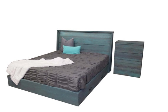 The Jacq storage platform bed with lit headboard