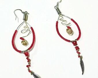 Red Teardrop Hoop Earrings