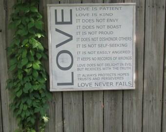 1 Corinthians 13 Love Wood Sign Scripture Wall Art Bible Verse Wooden Sign