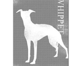 Whippet Dog Print - Fine art print, Whippet art, dog silhouette, white silhouette