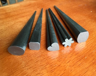 Tapered steel mandrels, set of five, heart, oval, flower, square and rectangle with arched sides