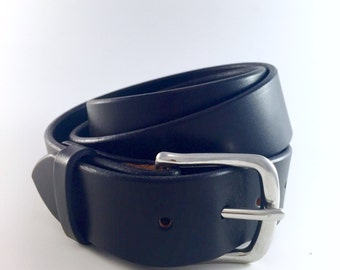"Men's Belt / Black Bridle Leather Belt / Amish Made / Thick Leather Belt / Full Grain Bridle Leather / 1.5"" / Lifetime Guarantee"