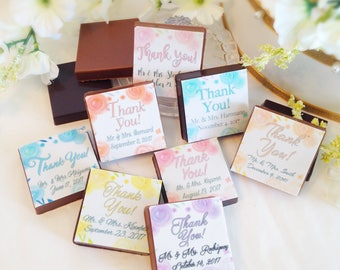 Personalized Chocolate Wedding Favors - Chocolate Thank You Wedding Mementos - Custom Party Giveaway