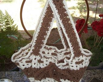 Retro Crochet Casserole Carrier -  Retro Brown and Cream
