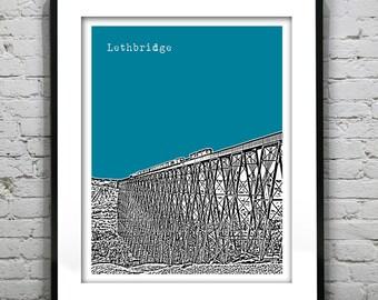 Lethbridge Alberta Canada Poster Print City Skyline Art Print AB Version 2