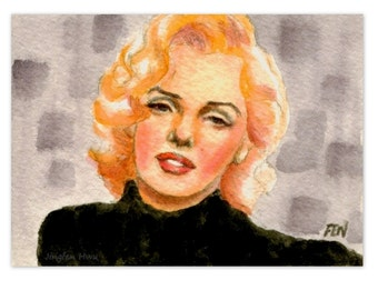 """beautiful woman painting  """"study of Marilyn Monroe In Black"""" gift for her room decor desk"""