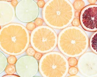 Oversized Art, Orange Photograph, Food Photography, Citrus Fruit Print, Grapefruit Orange Lime, Fruit Photograph, Home Decor, Kitchen Print