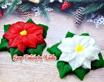 Poinsettia Soap Christmas Favors ~ Holiday Favors ~ Christmas Wedding Favor ~ Holiday Soap - Christmas Soap - Holiday Gift~ Stocking Stuffer