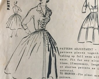 Spadea 1222 Pattern, Mollie Parnis Dress, 1950's Mail Order Pattern, Vintage Size 12, American Designer