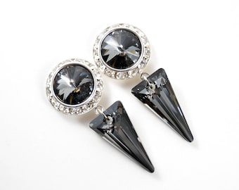 5/8 9/16 1/2 1 PAIR Silver Crystal Night Spike Silver Ear Dangle Plugs Gauges Tunnels or Studs Made With SWAROVSKI Elements Wedding Bridal