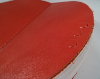 Round leather blank book/journal, red
