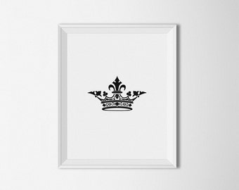 Crown Art Print, printable art, Black and White, Minimalist Decor, modern art, minimal art, crown print, crown wall art, Vintage art