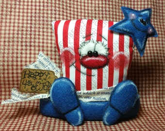 Hats Off America Pattern #215 - Primitive Doll Pattern - Patriotic Top Hat - 4th of July