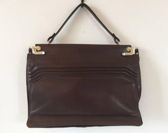 Vintage chocolate colored leather handbag