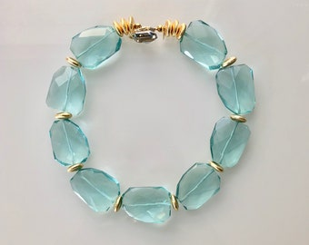Pale Teal Glass Necklace