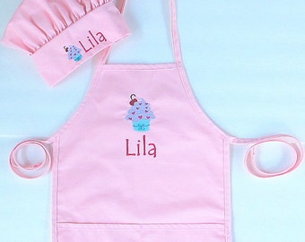 Child's Personalized Apron AND Chef Hat - Free Personalization - Childrens Personalized Apron and Chef Hat - Cupcake