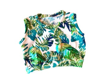 Palm Leaves Leaf Summer tropical Baby Toddler Crop Top