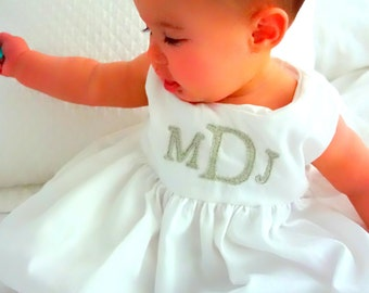 Pure White Bubble Hem Dress with Traditional Monogram Font