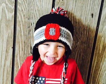 Ohio State Inspired Crochet Hat