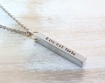 Mother's Day - Elle est forte - Hand Stamped - Bar Necklace - She is Strong