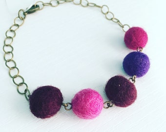 Paulina Felt Bracelet in Grape