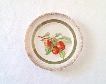 Cherry Plate Vintage KT and K China Small Cherry Gold Plate