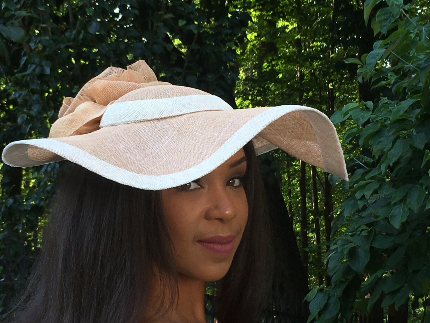 Wide Brimmed Tan Straw And Ivory Hat Wedding Hat Mother Of