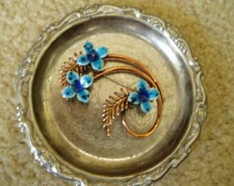 Beautiful Rare Matisse Renoir Copper with Blue Enamel Flowers Brooch/Pin/SALE