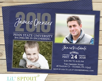 Graduation invitation etsy then and now graduation invitation filmwisefo