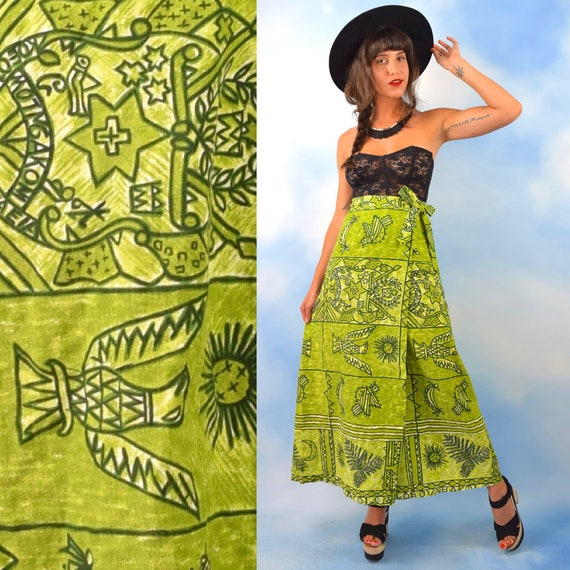 Vintage 60s 70s Thunderbird Green Cotton Coconut Cloth High Waisted A Line Wrap Skirt