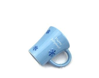"HALLMARK SNOWFLAKE ""Happy Jollydays"" MUG, Vintage Kitchen Decor, Mint New Original Tag, Powder Blue Cup, Winter Holiday Gift 3 Petunia Place"