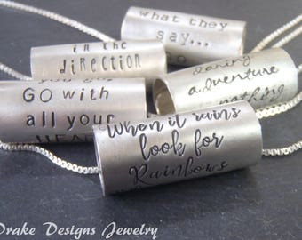 custom hand stamped inspirational quote necklace / personalized Valentines Day gift / sterling silver positive inspiration