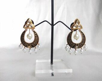 Meenakari Kundan Earrings, Pearl Kundan Earrings, Black Kundan Earrings, Traditional Indian Jewelry, Indian Wedding Earrings, Bridal Earring