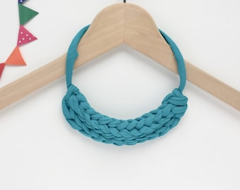 Teal necklace - Teal T-shirt yarn necklace - Knot necklace -  Knitted necklace - T-shirt yarn necklace - Gift for her - Teal jewellery