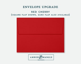 ENVELOPE UPGRADE Red Envelopes Add-On for Amber Mangle Designs Print Order Invitations A7 Note Cards A2 Stationery A6