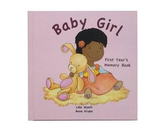 Baby Girl  First Year's Memory Book - Black Hair/Dark Skin