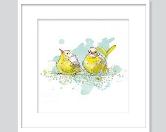 Watercolor Two yellow birds friends-fine Art GicléePrint-